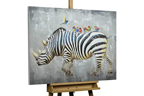 KunstLoft® Handbemalter Kunstdruck 'Klassenausflug' 100x70cm | original handbemalte Leinwand Bilder XXL | Nashorn Tier Afrika Grau Schwarz-Weiß | Wandbild Acrylbild Moderne Kunst mit Rahmen