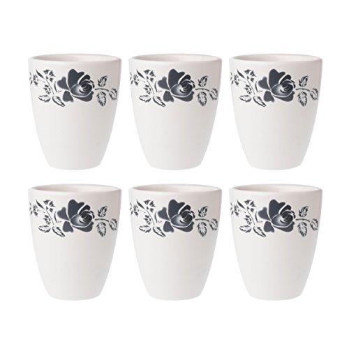 Depot d'argonne Rose Motif 6 Tasses, en CÉRAMIQUE, Gris, 7.5 x 7.5 x 9 cm