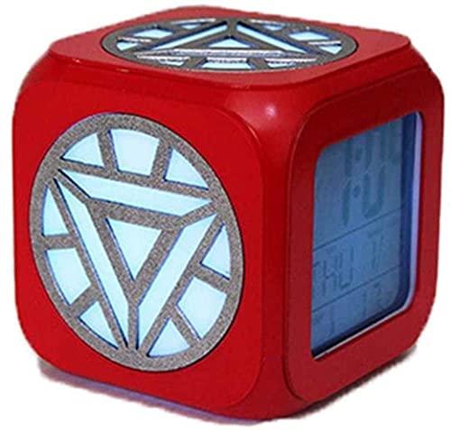 JZTOL Reloj Despertador Estéreo 3D Hombre De Hierro Silent LED Luz Nocturna Elegante Creativo Creativo Alarma De Alarma Siete Colores del Patrón De Reactor Nuclear -USB Cargando