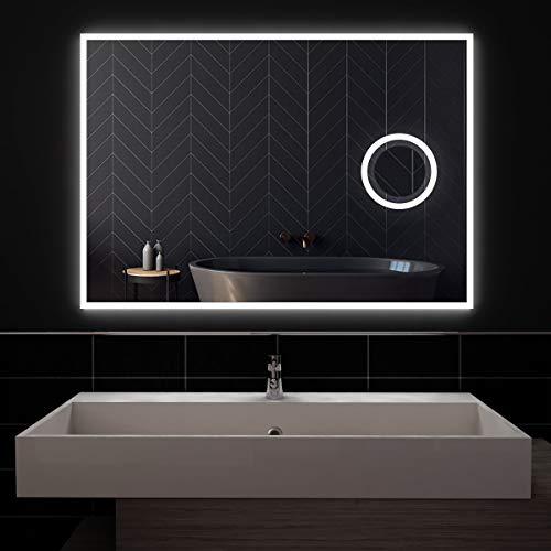 styleglass Bogota' Rechteckiger Badspiegel 100 x 70 cm, mit hintergrundbeleuchtetem Spiegel, Spiegel Made in Italy, Rahmen aus PVC, Wandbefestigung inklusive, Schutzart IP65