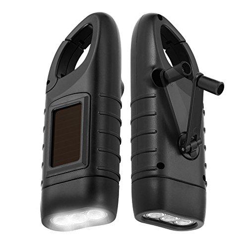 Simpeak [ 2-Pack] Hand Crank Solar Powered Flashlight, Emergency Rechargeable LED Flashlight, Survival Flashlight, Quick Snap Carbiner Dynamo Flashlight Torch for Outdoor Sports,Black