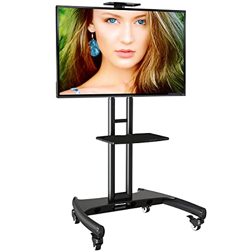Ergosolid Supporto TV da Pavimento con Ruote Carrello Staffa Porta Mobile Stand Orientabile per Schermi 32  a 65 , fino a 45,5 kg