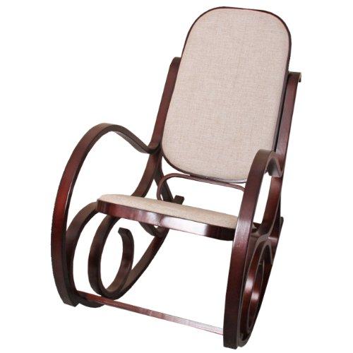 Sedia a dondolo M41 legno 90x50x90cm noce seduta tessuto beige