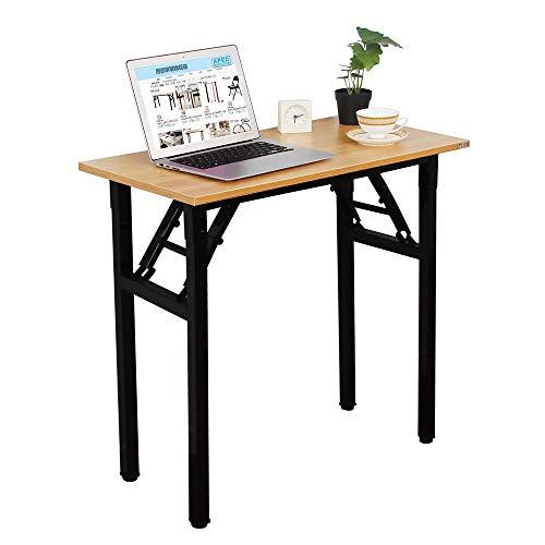 DlandHome Kleiner Klapptisch, 80 x 40 cm, keine Installation erforderlich, Heimbüro, Computertisch/Arbeitsplatz, Holzplatte, Teakholz und schwarze Beine