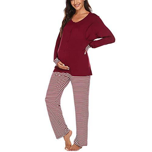 Pijama Premama Mujer Embarazadas Mangas Largas Camiseta con Botones y Pantalones a Rayas Conjunto para Lactancia Parto Hospital/XL/Rojo