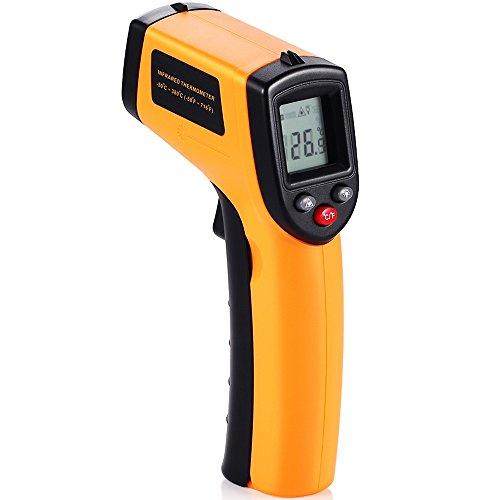 GRDE Infrarot Thermometer laser IR Pyrometer berührungslos Temperaturmessgerät Temperaturmesser mit Digital LCD Hintergrundbeleuchtung 500mSec Reaktionszeit Auto Ausschalten funktion (-50 ~ 380℃(-58 ~ 716℉)