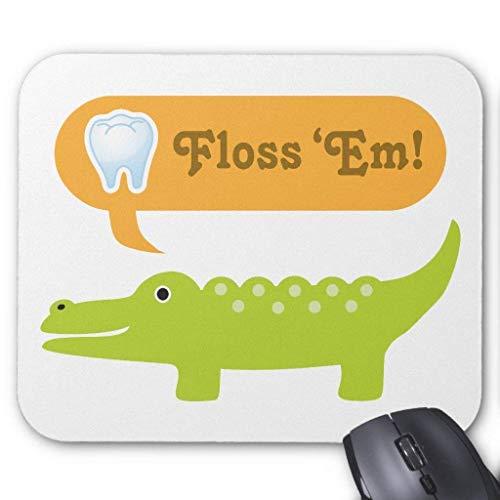 Funny Alligator Floss Dental Hygiene Mauspad Computer Mousepad 300 * 250 * 3mm