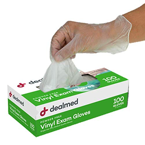 Dealmed Vinyl Exam Gloves, Powder Free, Latex Free, Clear (Medium, Pack of 1)