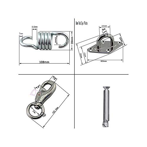 FJSC 700 LB Hammock Hanging Kit Heavy Duty Ceiling Spring Hooks with Steel Wall Anchors for Hammock Stand Swing Chair Yoga Exercise Apply on wall