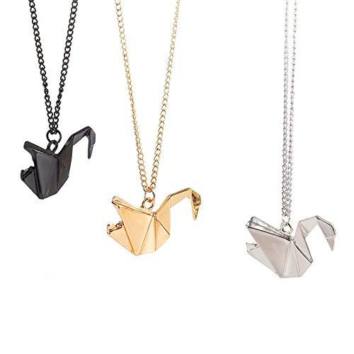 SUZHENA Collar Nuevo Thousand Paper Cranes Hollow Dove Origami Pigeon Long Animal Necklace Bird Pendant, Negro