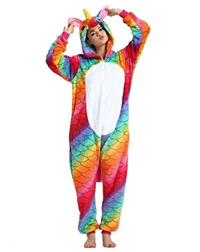 Kenmont Kostüm Einhorn Pyjama Tier Schlafanzug Overall Einteiler Jumpsuit Sleepsuit Cosplay Karneval Halloween (L, Mermaid)