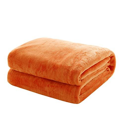 Mixibaby Kuscheldecke Flauschige extra weich & warm Wohndecke Flanell Fleecedecke, Falten beständig/Anti-verfärben als Sofadecke oder Bettüberwurf, Größe:240 cm x 270 cm, Farbe:Orange