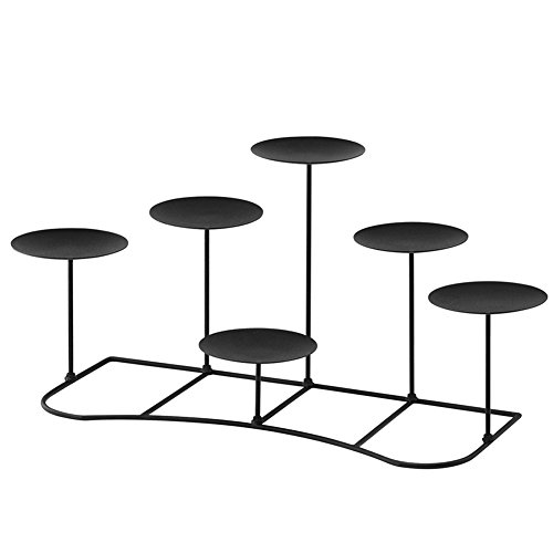smtyle DIY 6 Fireplace Candle Candelabra Candleholder Mantle Decor for Flameless or Wax Pillar Candles Stand with Black Iron Decoration on Desk or Floor