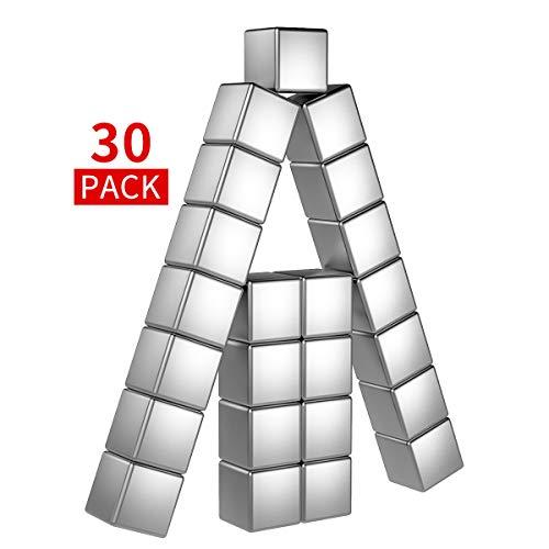 Temporaryt Neodym Magnete 30 Stück, 8mm Magnets Premium Qualität - Mini Magneten für Whiteboard Pinnwand inkl. Aufbewahrungs Box (8x8x8mm)