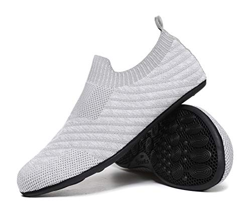 MOHEM Womens Mens Lightweight Summer House Slippers Shoes Soft Sock Shoes with Rubber Sole(MH-Wslipper2235Gray39)