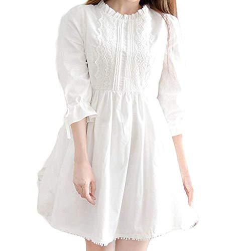 Damen Weißes Kleid schöne süße mädchen japanischen Stil Spitzenkleid Sommer Rock Dress Spitze schaukel Kleid
