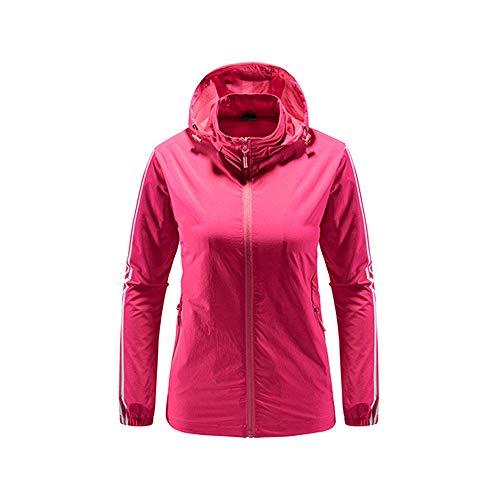 iMixCity Chaqueta cortavientos con capucha para mujeres y hombres Abrigo impermeable unisex transpirable de secado rápido al aire libre (XXL, Mujeres - Rosa Rojo)