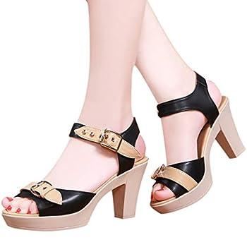 haoricu Women s Peep Toe Pumps Casual Zipper Sandals Leather Open Toe High Heel Booties Black