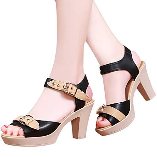 haoricu Women's Peep Toe Pumps Casual Zipper Sandals Leather Open Toe High Heel Booties Black