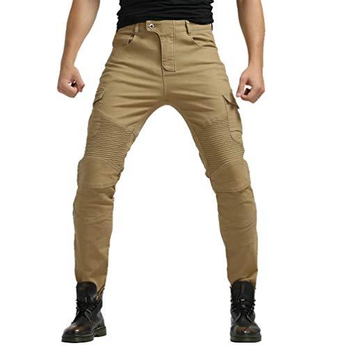 YuanDian Hombre Pantalon Vaquero Moto Jeans de Moto con Protecciones de Rodilla y Cadera Stretch Slim Fit Denim Pantalones Protectores Cargo Recto Pantalones De Motorista