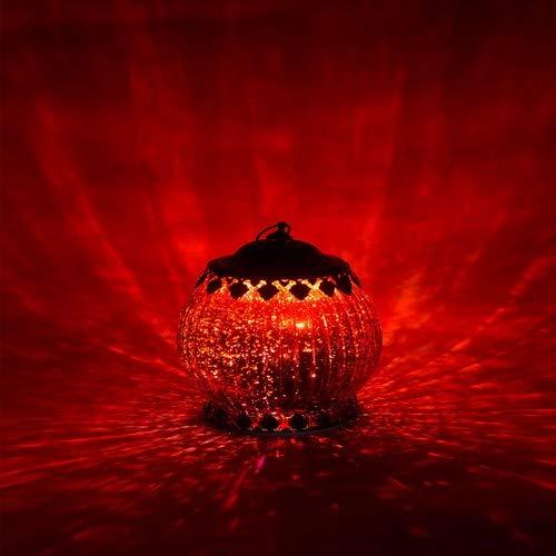 Home&Decorations Lanterne LED Rouge en Verre Décoratif - Bougie Chauffe-Plat pour Marriage, Anniversaire, Fête, Dîner - Bougeoir Couleur Rouge 18 cm de Hauteur
