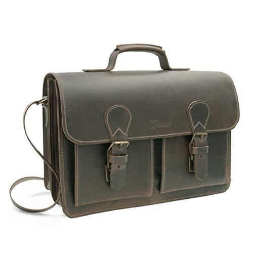 XL Aktentasche, Lehrertasche Madrid aus Leder in braun, Außenmaße (BxHxT): 40 x 30 x 13...