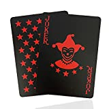 ACELION wasserdichte Spielkarten, Plastik Pokerkarten, Poker Karten Set, Playing Cards (Roter Stern)