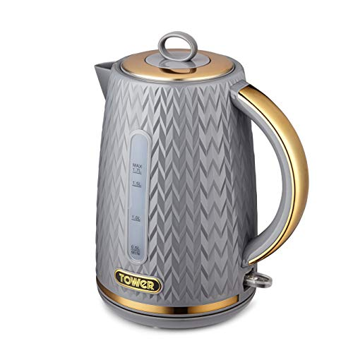 Tower T10052GRY Empire 1.7 Litre Kettle with Rapid Boil, Removable Filter, 3000 W, Grey with Brass Accents