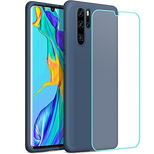 YATWIN Compatibile con Cover Huawei P30 PRO 6,47'', Custodia per Huawei P30 PRO Silicone Liquido, Protezione Completa del Corpo con Fodera in Microfibra, Blu Notte
