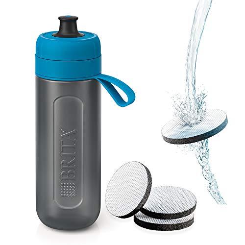 ブリタ 水筒 直飲み 600ml 携帯用 浄水器 ボトル カートリッジ 3個付き フィル&ゴー アクティブ ブルー 【日本正規品】