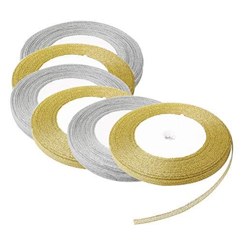 Nuosen 6 Rollen Glitzer Metallic Bänder, Satinband 25 Yard 0.6 cm jede Rolle für Geschenke Verpackung Dekorationen (3 x Gold Bänder, 3 x Silber Bänder)