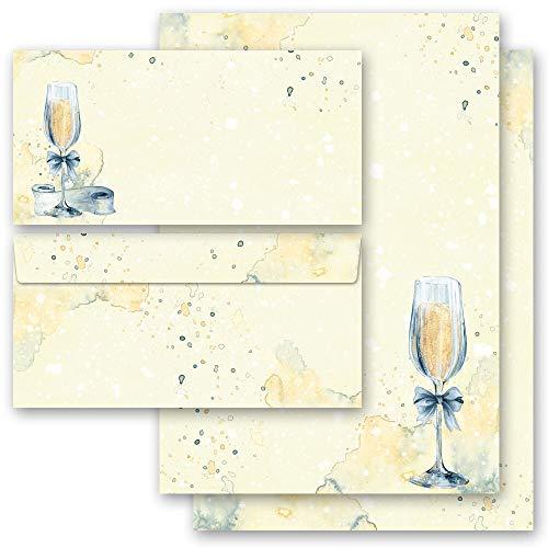 Briefpapier Sets Besondere Anlässe, SEKTEMPFANG 50 Blatt Briefpapier + 50 passende Briefumschläge DIN LANG ohne Fenster | Paper-Media