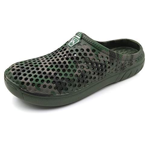 AMOJI Zuecos Ligeros Zapatillas Zapatos de Playa Zuecos de jardín de Secado rápido Crocks Zapatos de Ducha Sandalias Zapatillas para Hombres Mujeres Camuflaje Verde 39 EU