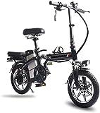 RDJM Bici electrica 14' Bicicleta eléctrica/Plegable E-Bike/conmuta Bicicletas con Marco Plegable de la aleación, batería de Litio de 48V de Iones de Litio Recargable de la batería de Bicicletas P