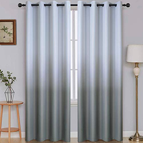 Ombre Room Darkening Curtains for Bedroom, Light Blocking Gradient Grey White to Gray Polyester Thermal Insulated Grommet Window Curtains /Drapes for Living Room ,2 Panels, 52x96 inches Length