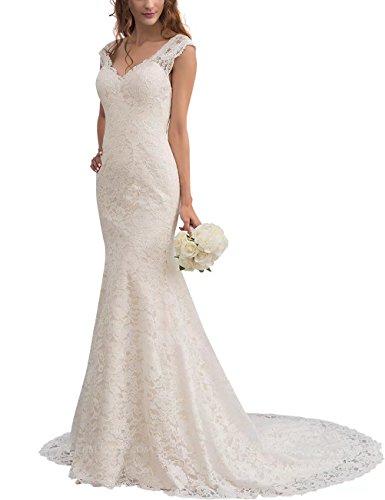NaXY Brautkleider Hochzeitskleider Meerjungfrau Lang Trompete V Ausschnitt Damen Spitze Brautkleid Hochzeit Kleid Ivory Size 46
