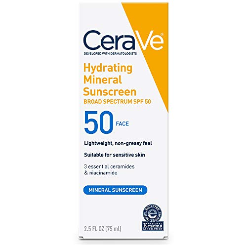 CeraVe 100% Mineral Sunscreen SPF 50 | Face Sunscreen with Zinc Oxide & Titanium Dioxide for Sensitive Skin | 2.5 oz, 1 Pack (Packaging May Vary)