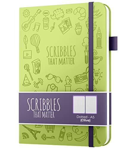 Diario de puntos A5 de Scribbles That Matter - Cuaderno Bullet Journal Dot Grid - Papel apto para plumas estilográficas gruesas sin sangrado - de tapa dura - Versión icónica - Oliva