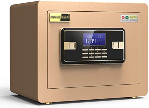DJPP Safes Safes Home Unsichtbares Passwort Office Anti-Theft Mini Alarm Depot 25 cm Nachttisch Sicherheitsschrank 35 * 25 * 25 cm Safebox,Gold