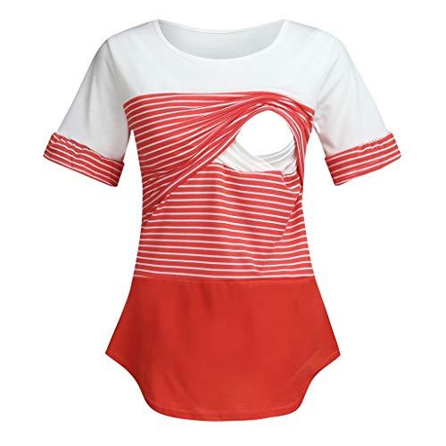 pitashe_Stillshirt Angebote, Deals, Umstandstop Damen Umstands Stilltop Stilloberteil Doppelschicht Kurzarm Streifen Unregelmäßig Nähen Kontrastfarbe Stillen Kleidung füttern Umstandsmode T-Shirt Top