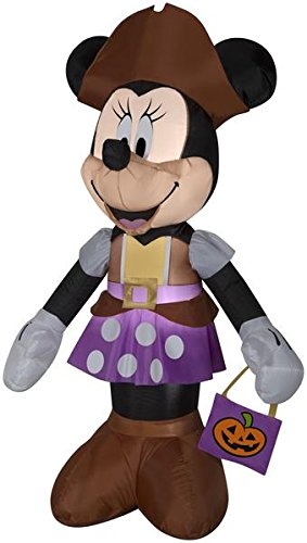 Gemmy Airblown 5ft Minnie Mouse in Pirate Costume Halloween Inflatable