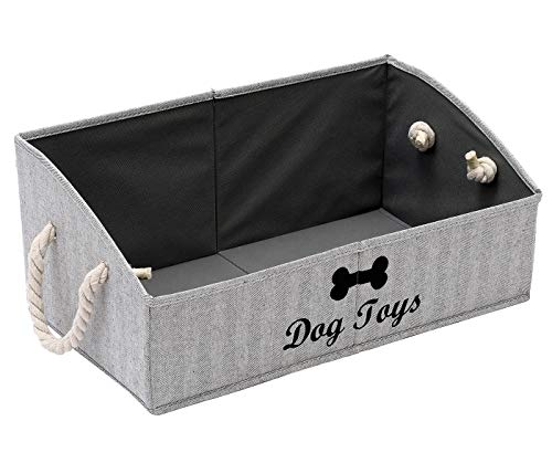 Morezi Canvas Pet Toy and Accessory Storage Bin, Basket Chest Organizer - Perfect for Organizing Pet Toys, Blankets, Leashes and Food - Stripe - Rectangle - Dog
