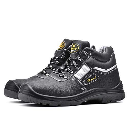 Botas de Seguridad Hombre Trabajo con Suela Antideslizante CE S3 8350 Calzado de Protección con Puntera Composite (40, Negro 1,40)