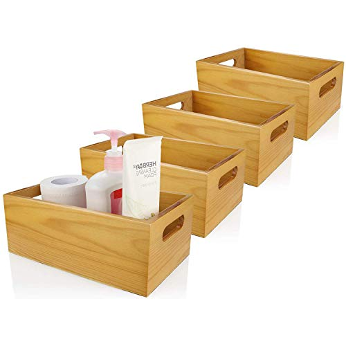 """ABUFF 4 Pack of 4"""" Deep Pine Wood Organizer Open Box, 10"""" X 6"""" Toilet Storage Tray with Handle for Tissues, Candles, Soap"""
