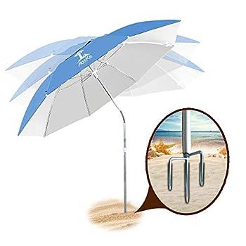 AosKe Beach Umbrella UV 50+,Umbrella with Sand Anchor & Tilt Aluminum Pole Outdoor Sunshade Umbrella with Carry Bag,Portable Beach Umbrella with Carry Bag for Beach Patio Garden Outdoor- Sky Blue