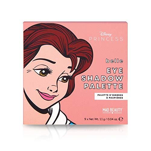 MAD Beauty Paleta de Sombras de Ojos Princesa Bella, Disney Pop Princess Mini Eyeshadow Palette Belle, Multicolor