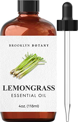 Brooklyn Botany Lemongrass Essential Oil – 100% Pure and Natural – Therapeutic Grade Essential Oil with Glass Dropper  Lemongrass Oil for Aromatherapy and Diffuser  4 OZ