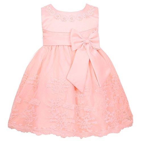 TiaoBug Babykleider Mädchen festlich Baby Kleid Taufkleid festlich Prinzessin Party Kleid Festzug Kleidung 68 74 80 86 92 Perlen Rosa 68-74
