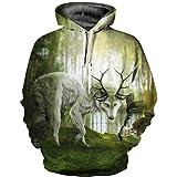 ZQWY 3D Fashionlong Horn Riverside Wolf Sudaderas con Capucha Impresas Sudaderas con Capucha Sudaderas Chándales de Moda Ropa de Invierno para Hombres