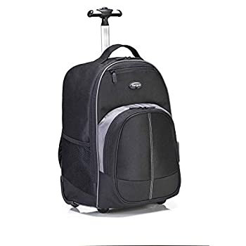 Targus Compact Rolling Backpack for Business College Student and Travel Commuter Wheeled Bag Durable Material Tablet Pocket Removable Laptop Protective Sleeve for 16-Inch Laptop Black  TSB750US